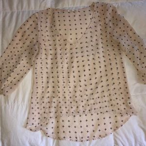 Wishful park size medium cream cross print blouse